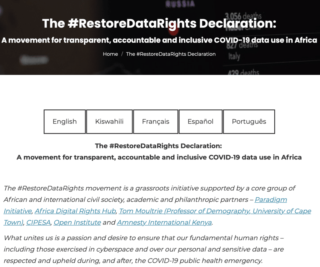 Screen capture of the Restore Data Rights Declaration